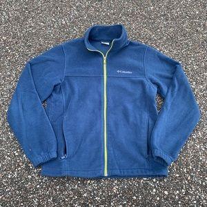 Mens Columbia Navy Blue Athletic Fleece Jacket M
